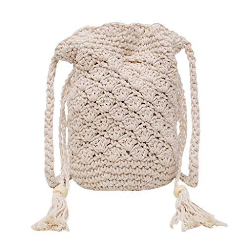 Dainzuy Weaving Bucket Bag Women Tassel Mini Shoulder Bag Drawstring Handbags Holiday Leisure Beach Bags Straw Handbag Beige