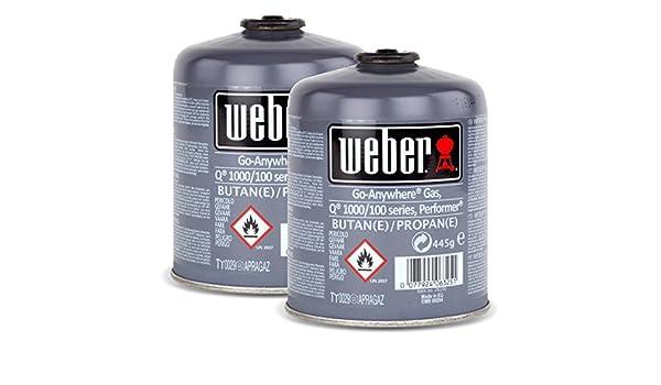 Juego de bombonas de gas 26100 para la serie Q 100 de Weber y Performer Touch-N-Go, 2 unidades: Amazon.es: Hogar