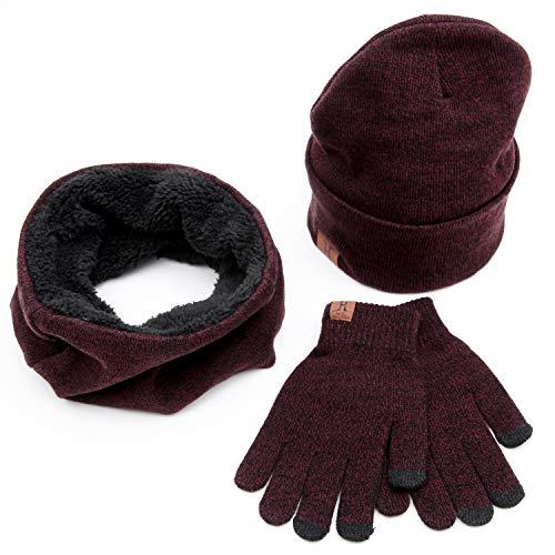 (Maylisacc Winter Warm 3 Pcs Set Knit Beanie Hat + Touchscreen Gloves + Scarf for Men & Women Red)
