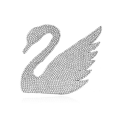 Car Sticker Crystal Rhinestone Truck Suv Home Office Window Decal Sticker Decoration Swan RIght Side 3.5 by 3.5inch (Silver)