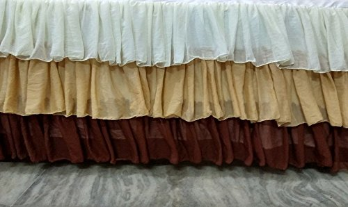 Chiffon White Brown Ruffle Crib Skirt/Circular/Mini Crib Skirt - many colors available