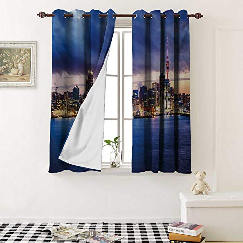 shenglv City Blackout Draperies for Bedroom Auckland The Biggest City in New Zealand Waterfront Travel Destination Curtains Kitchen Valance W72 x L63 Inch Navy Blue Pale Yellow