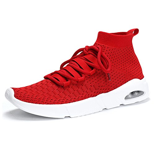 KRIMUS Women Walking Shoes Shoes for Women Running Shoes Women high top Sneakers Flyknit Women (Red 37)