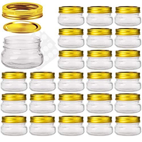 KAMOTA Mason Jars 4OZ With Regular Gold Lids and Bands, Ideal for Jam, Honey, Wedding Favors, Shower Favors, Baby Foods, DIY Magnetic Spice Jars, 24 PACK, 30 Whiteboard Labels Included -
