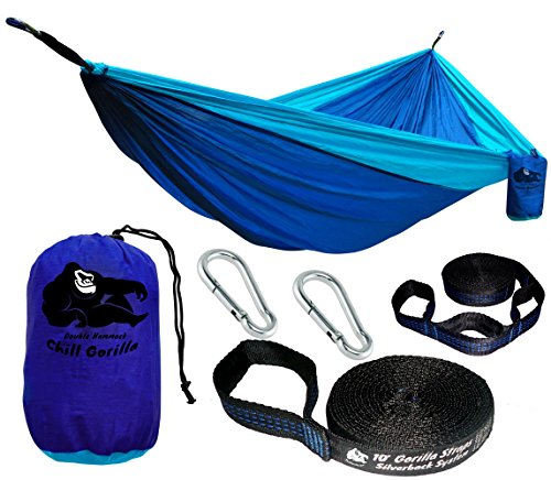 Chill Gorilla Double Hammock with Tree Straps. Perfect for Backpacking Camping Travel Beach Yard. Portable Parachute Hammock. Easy to Setup. 126 x 78 Lightweight Ripstop Nylon. Blue