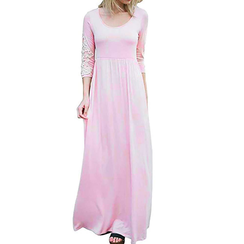 Women Graceful Maxi Dress,Women Solid Applique Three Quarter Sleeve Patchwork High Waist Boho Long Maxi Dresses(S,Pink)