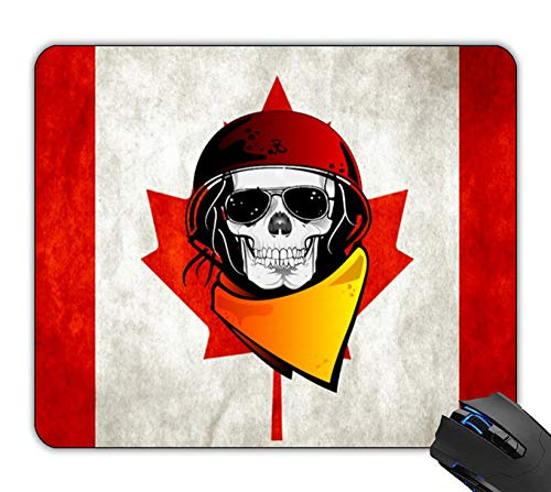 Distressed Rebel Flag - OTTIET Custom Rebel Skull Distressed Canadian Flag Gaming Mouse Pad 9.5 X 7.9 Inch (240mmX200mmX2mm).Non-Slip Thick Rubber Large Mousepad.