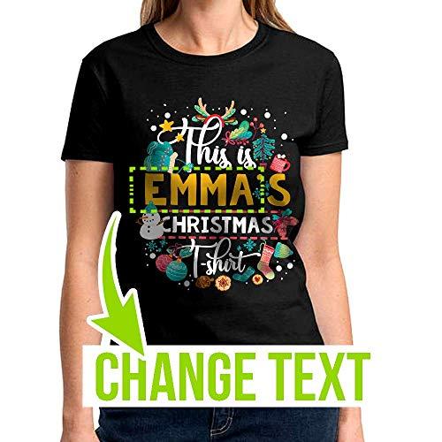 Name Custom This Is Emma's Christmas Shirt Santa