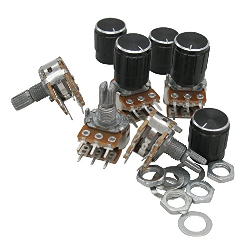 Taiss / 5pcs 10K Ohm 6 Pins Split Shaft Rotary Linear Dual Taper Audio B Type Potentiometer, Volume Control Potentiometer B10K + 5pcs Knob ()