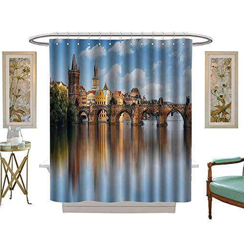 Charles Satin Heels - Jiahong Pan Shower Curtains Mildew Resistant Charles Bridge in Prague Czech Republic Reflecti River Towers Forest Landmark Satin Fabric Bathroom Washable