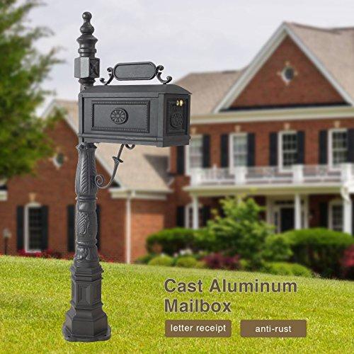 Mecor Mailbox Classic Decorative Aluminum Mailbox Vertical Pedestal (Black-1)