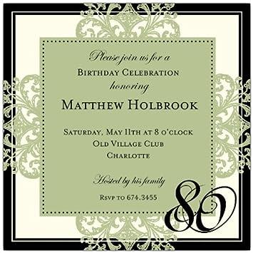Decorative Square Border Green 80Th Birthday Invitations