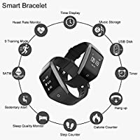 Coffea Fitness Tracker, C8 Activity Tracker Watch with Heart Rate Monitor 5ATM Waterproof Sport Smart Bracelet With Music Player, Flash Drive, Pedometer, Calorie Counter for Android and Ios from Coffea