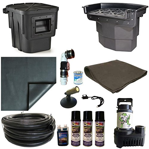 20 x 20 PVC Large Koi Pond Kit 5500 GPH Pump Big Bahama 26 Inch Waterfall and Oasis Skimmer PVCLA4