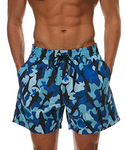 ESCATCH Swim Trunks for Men Fish Printing Quick Dry Shorts Breathable Boardshorts with Side Pocket Camouflage XX-Large