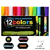 Chalk Markers 12 Pack (Gold & Silver included) with 60 Pcs of Multi-Size Chalkboard Labels, Reversible Tips - Non-Toxic, Odorless, Erasable by INNOCHEER