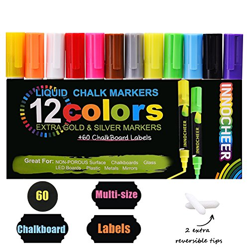 Chalkboard Chalkboard (Chalk Markers 12 Pack (Gold & Silver included) with 60 Pcs of Multi-Size Chalkboard Labels, Reversible Tips - Non-Toxic, Odorless, Erasable by INNOCHEER)