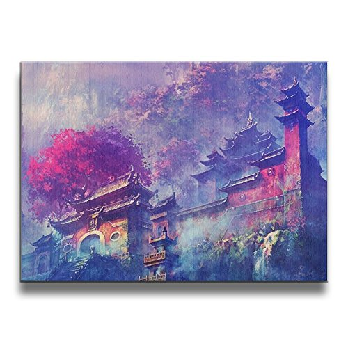(Mout-store Art Japanese Temple Shrine 16/20 Inch Decorative Artwork Abstract Oil Paintings On Canvas Wall Art Ready To Hang Home Decoration Wall Decor, Paintings Living)