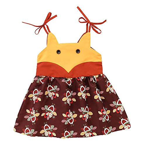 NIHINTE Toddler Baby Girl Thanksgiving Outfit Dress Sleeveless Sling Dress Turkey Pattern Cute Thanksgiving Onesie Dress (80/6-12M, Brown) -