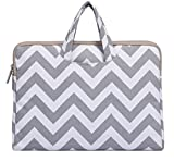 MOSISO Laptop Briefcase Handbag Compatible 11-11.6 Inch MacBook Air, Ultrabook Netbook Tablet, Chevron Style Canvas Fabric Carrying Sleeve Case Cover Bag, Gray