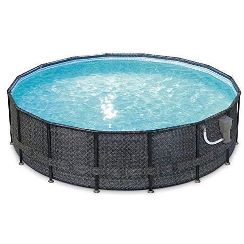 Summer Waves Elite Wicker Print 16ft x 48in Above Ground Frame Pool Set & Pump