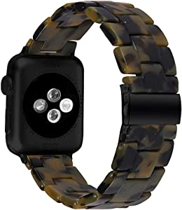 MEFEO Compatible with Apple Watch Band 38mm 40mm 42mm 44mm, Stylish Resin Bands Bracelet Replacement for iWatch Series 6 Series 5/4/3/2/1 & iWatch SE Women Men (Dumb Army Green, 42mm/44mm)
