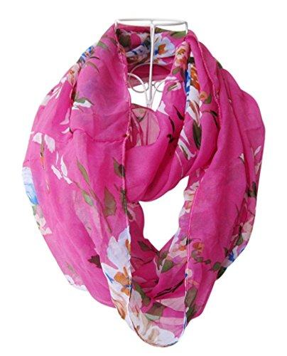 Veenajo Womens Elegant Premium Soft Multicolor Sheer Infinity Scarf Light Weight Neckerchief(Rose)