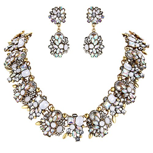 BriLove Statement Necklace Earrings Set for Women Tribal Ethnic Crystal Mix-Shape Cluster Statement Necklace Dangle Earrings Jewelry Set Iridescent AB Antique-Gold-Toned