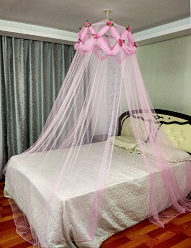 Princess Absolute Rose Decor Ruffle Mosquito Netting Princess Pink Canopy by Ka bed canopy net