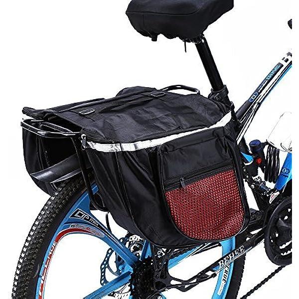 25L Waterproof Mountain Road Bicycle Bike Rack Rear Seat Tail Carrier Trunk Double Pannier Bag Yosoo Health Gear Bike Rear Carrier Bag