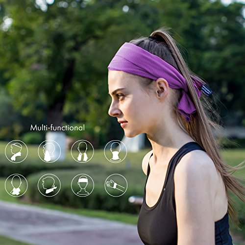 "Cooling Towel - 40"" Long Fitness Yoga Towel, Lightweight Soft Breathable Snap to Reactivate Chill Towel, Ice Cool Towel Gift for Women Kids Workout Lovers in Hot Summer Season Purple 16 x 40 Inch"