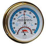 "Thermco 6"" Brass Dial Thermo Hygrometer for Monitoring Temperature and Humidity"