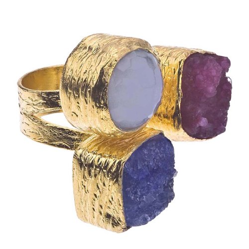 Vermeil 18k Gold Plate (18K Gold Plate, Druzy & Chalcedony Floating Ring)