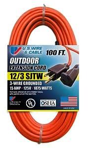US Wire 65100 12/3 100-Foot SJTW Orange Heavy Duty Extension Cord