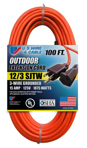 us wire 65100 12 3 100 foot sjtw orange heavy duty extension cord rh amazon com 3 wire extension cord repair ends 3 wire extension cord wiring