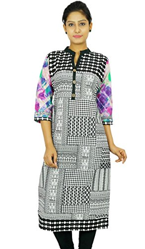 Impreso indio Bollywood Kurta mujeres se visten túnica de algodón ocasional étnico Kurti Blanco