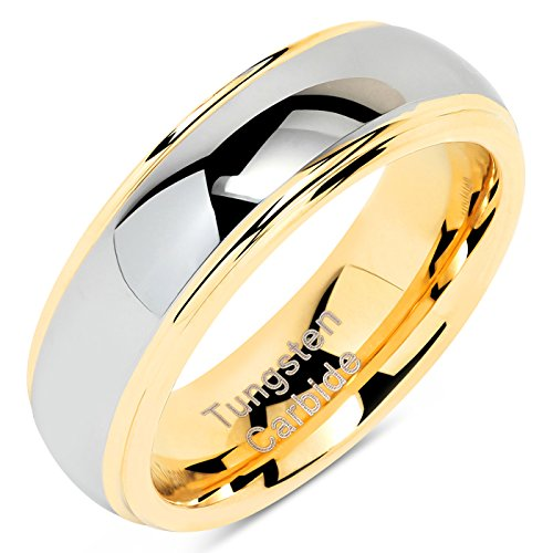 (100S JEWELRY 6mm Tungsten Rings For Men Women Wedding Band Two Tones Gold Silver Engagement Size 5-13 (9))