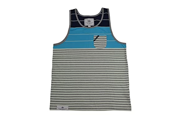 f99279b86405f Amazon.com  LRG Tress   Bird Navy Blue Gray Striped Men s Tank Top ...