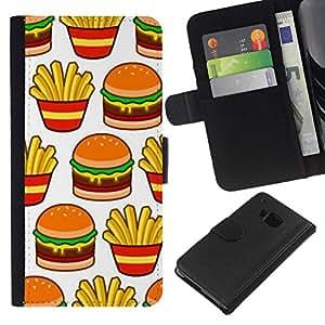 All Phone Most Case / Oferta Especial Cáscara Funda de cuero Monedero Cubierta de proteccion Caso / Wallet Case for HTC One M7 // papas fritas hamburguesa francés basura comida rápida