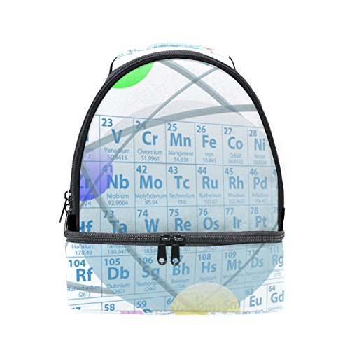 LORVIES Atomic Elements Periodic Table Chemistry Design Lunch Bag Dual Deck Insulated Lunch Cooler Tote Bag Adjustable Strap Handle for Women Men Teens Boys Girls