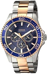 GUESS Men's U0172G3 Two-Tone Rose Gold-Tone Watch with Blue Mutli-Function Dial