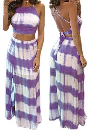 Women Sexy Crop Top Maxi Skirt 2 Piece Set Outfit Side Slit Club Beach Dress