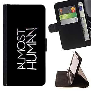 - AI Almost Human - - Prima caja de la PU billetera de cuero con ranuras para tarjetas, efectivo desmontable correa para l Funny HouseFOR HTC One M7