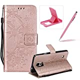 Strap Leather Case for Samsung Galaxy Note 4,Wallet Leather Case for Samsung Galaxy Note 4,Herzzer Premium Stylish Creative Rose Gold Art Painted Magnetic Bookstyle Flip Portable Stand Case with Soft Rubber Card Holder Slots