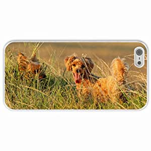 Customized Apple iPhone 5 5S PC Hard Case Diy Personalized DesignCover Dogs summer White
