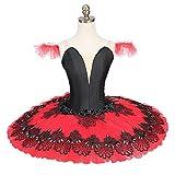 QSEFT Professional Tutus Red Black Pancake Ballet Costumes Performance Classical Ballet Tutu Nutcracker Tutu Red,Adultsizes
