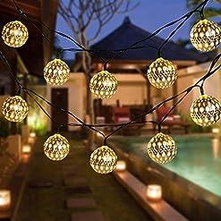 Garden and Outdoor Globe String Lights, CMYK 20 Ft 40 Balls Waterproof LED Fairy Lights, Outdoor Starry Lights Solar Powered String Lights… outdoor lighting