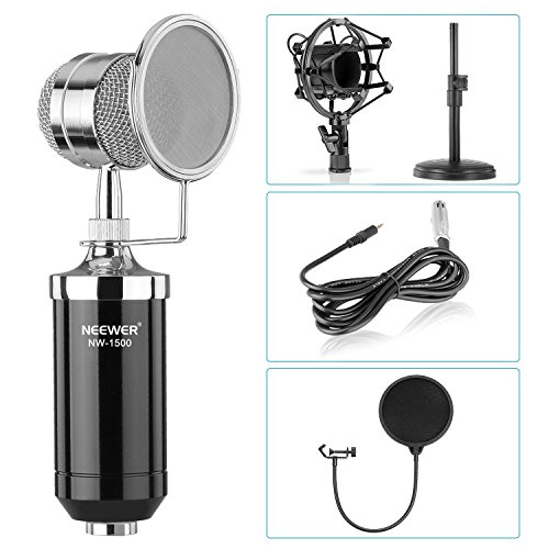 Neewer® Desktop Condenser Microphone Kit: (1)NW-1500 Condenser Microphone + (1)NW(B-3) Black Pop Filter + (1)Iron Desktop Mic Stand + (1)Metal Shock Mount + (1)3.5mm Male to XLR Female Cable