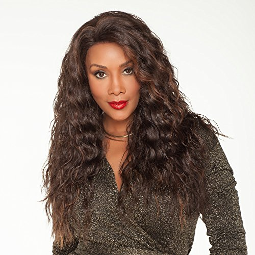 Vivica A. Fox OLIVIA-V New Futura Fiber, Deep Lace Front Wig in Color CABERNET ()