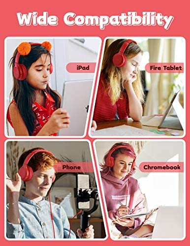 Mpow CHE2S Kids Headphones with Microphone, Over-Ear Boys Girls Headphones for Teenagers with Adjustable Headband, Collapsible Design, Wide Compatibility for iPad, Fire Tablet, Phone, Chrome-Book